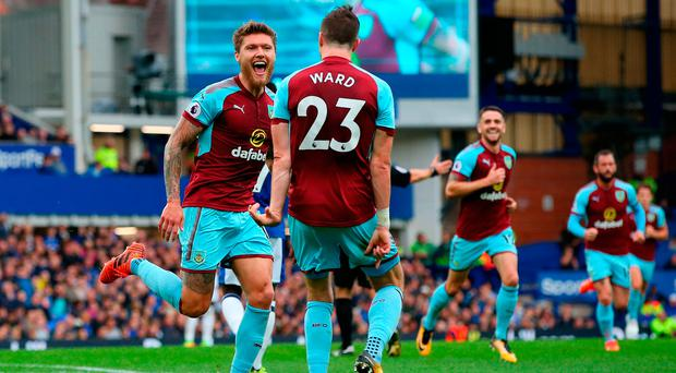 Jeff Hendrick celebrates scoring the winning goal for Burnley against Everton yesterday with his Ireland team-mate Stephen Ward