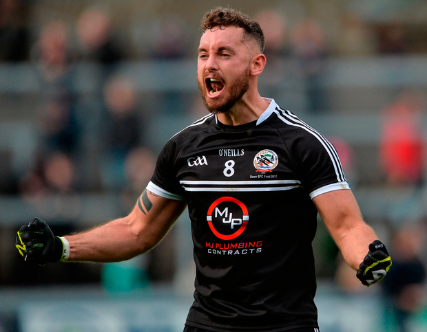 Kilcoo's Felim McGreevy celebrates at the final whistle after his team's victory in the Down SFC final. Photo: Sportsfile