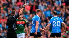Ciarán Kilkenny of Dublin is shown a black card during the GAA Football All-Ireland Senior Championship Final match between Dublin and Mayo at Croke Park in Dublin. Photo: Sportsfile