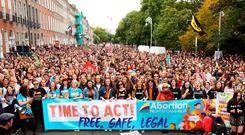 Tens of thousands of protesters marched through Dublin calling for a repeal of the Eighth Amendment at the weekend. Photo: Gerry Mooney
