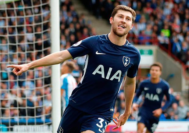 Tottenham's Ben Davies celebrates scoring their second goal at Huddersfield on Saturday. Photo: REUTERS