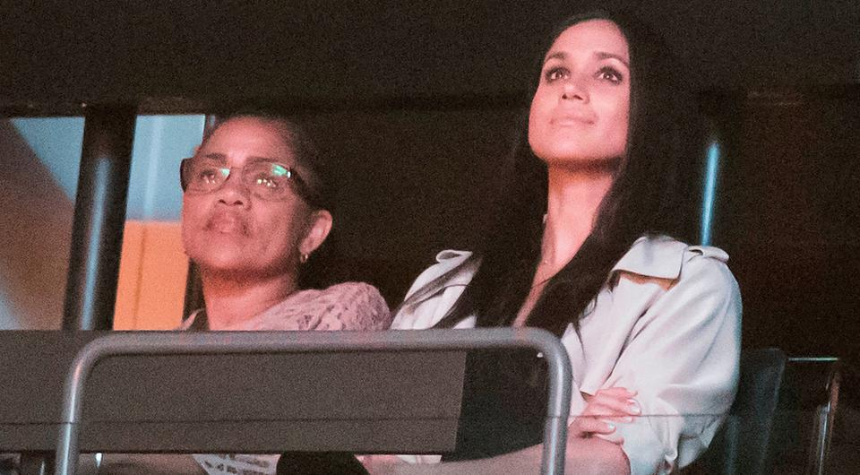 Prince Harry's girlfriend Meghan Markle (right) is pictured with her mother Doria Ragland during the Invictus Games Closing Ceremony Air Canada Centre in Toronto, Canada