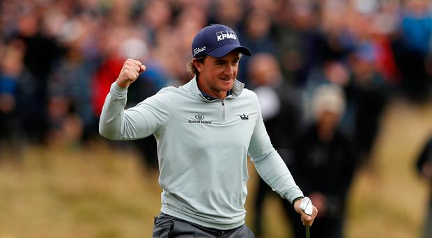 Golf - European Tour - British Masters - Close House, Newcastle upon Tyne, Britain - October 1, 2017 Ireland's Paul Dunne celebrates after chipping in on the 18th during the final round to win the British Masters Action Images via Reuters/Lee Smith
