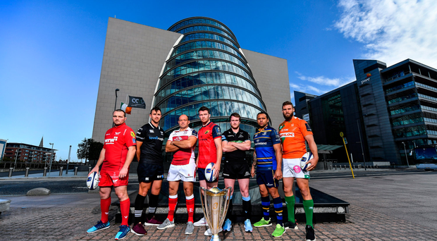 2 October 2017; In attendance at the European Rugby Champions Cup and Challenge Cup 2017/18 season launch for PRO14 clubs at the Convention Centre in Dublin, from left, Ken Owens of Scarlets, Ashley Back of Ospreys, Rory Best of Ulster, Peter O'Mahony of Munster, Stuart Hogg of Glasgow Warriors, Isa Nacewa of Leinster and Dean Budd of Benetton Rugby. Photo by Brendan Moran/Sportsfile