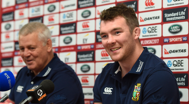 15 June 2017; Peter O'Mahony, right, and head coach Warren Gatland during a British and Irish Lions press conference at the Matariki Cultural Centre in Rotorua, New Zealand. Photo by Stephen McCarthy/Sportsfile