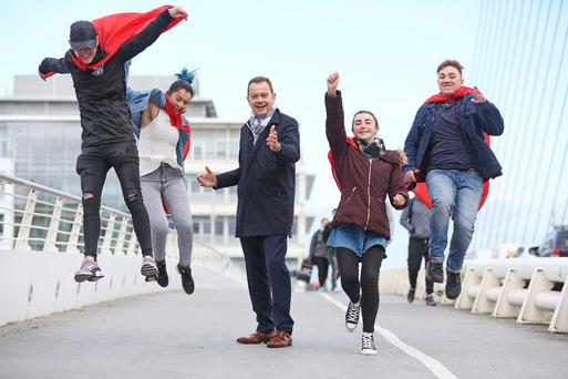 Matthieu Seguin, Managing Director, Coca-Cola HBC Ireland and Northern Ireland with some of the youths participating in the #YouthEmpowered programme Jennifer Collins, Yvonne O'Sullivan, Arkadiusz Gaik and Matthew Power Credit: Pic Julien Behal Photography