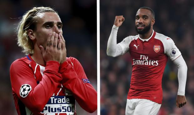 Alexandre Lacazette has joked he will ask Antoine Griezmann to join him at Arsenal CREDIT: GETTY IMAGES