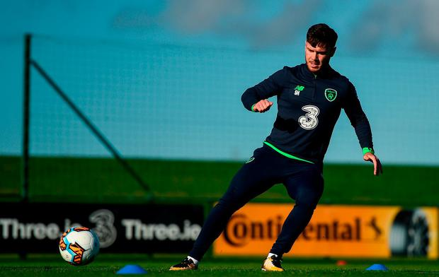 Republic of Ireland's Scott Hogan during squad training at the FAI National Training Centre in Abbotstown, Dublin. Photo by Stephen McCarthy/Sportsfile