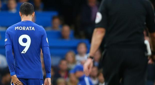 Álvaro Morata walks off the pitch during Chelsea's 1-0 defeat to Manchester City. CREDIT: GETTY IMAGES