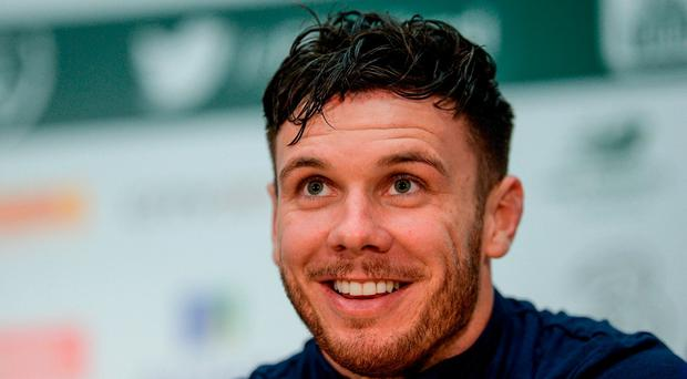 Republic of Ireland's Scott Hogan during a press conference at the FAI National Training Centre in Abbotstown, Dublin. Photo by Piaras Ó Mídheach/Sportsfile