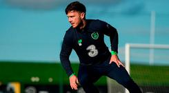 Ireland newcomer Scott Hogan goes through his paces during training in Abbotstown. Photo: STEPHEN MCCARTHY/SPORTSFILE