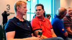 Leinster coach Leo Cullen speaks with Munster counterpart Rassie Erasmus at the launch of the Champions Cup. Photo: Brendan Moran/Sportsfile