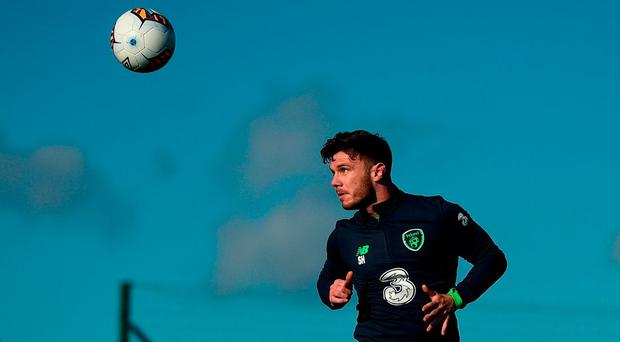 Scott Hogan during Ireland training at the FAI national training centre in Abbotstown. Photo: STEPHEN MCCARTHY/SPORTSFILE