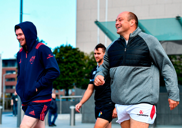 Ulster captain Rory Best shares a joke with Munster counterpart Peter O'Mahony at the launch of the Champions Cup in Dublin Photo: Sportsfile
