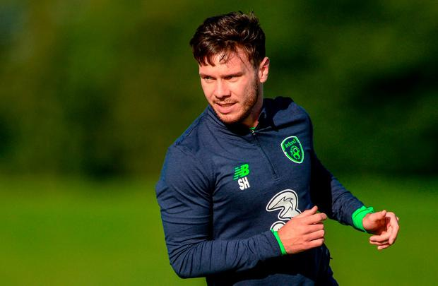 Republic of Ireland's Scott Hogan during squad training at the FAI National Training Centre in Abbotstown, Dublin. Photo: Piaras Ó Mídheach/Sportsfile