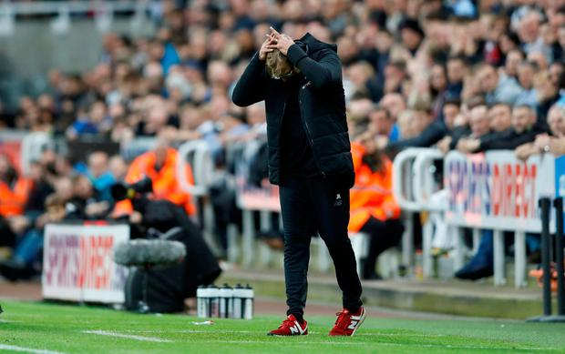 Liverpool manager Jurgen Klopp on the sideline during the Premier League game against Newcastle on Sunday. Photo: REUTERS