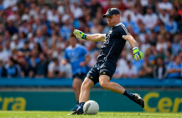 Dublin captain Stephen Cluxton kicks the ball out against Kildare in the Leinster SFC Final in July. Photo: Ray McManus/Sportsfile