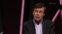 Alan Shatter speaking on Claire Byrne Live Photo: Screengrab from RTÉ Player