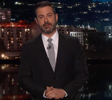 TV host Jimmy Kimmel became emotional speaking about the Las Vegas massacre last night
