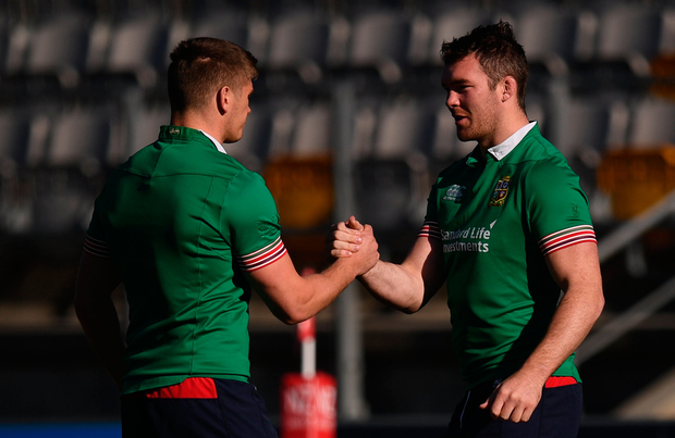 29 June 2017; Peter O'Mahony, right, and Owen Farrell during a British and Irish Lions Training Session at Jerry Collins Stadium in Porirua, New Zealand. Photo by Stephen McCarthy/Sportsfile