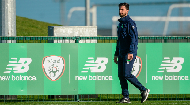 2 October 2017; Republic of Ireland's Shane Long during squad training at the FAI National Training Centre in Abbotstown, Dublin. Photo by Piaras Ó Mídheach/Sportsfile