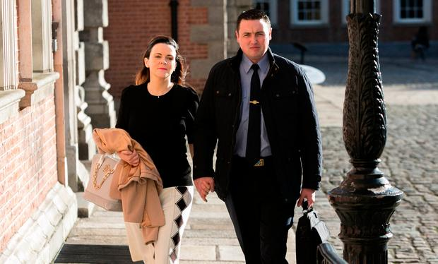 Harrison and Marisa Simms arriving at the Disclosures Tribunal in Dublin Castle. Photo: Gareth Chaney / Collins