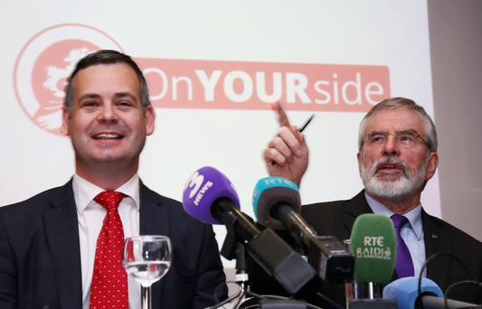 Pearse Doherty and Gerry Adams at The Davenport Hotel today for The Sinn Fein Alternative Budget 2017 launch (PIC COLIN O'RIORDAN)