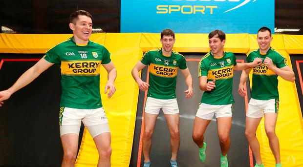 Kerry players Ronan Shannahan, Paul Geaney, Jack Savage and Jack Barry at yesterday's launch of Lucozade's 'Make to Move' initiative. Photo: Marc O'Sullivan