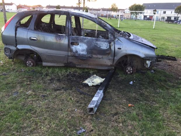 The burnt out car on the St Mark's GAA pitch