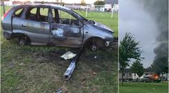 The burnt out car at St Mark's GAA pitch