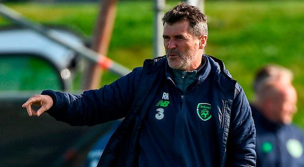 Republic of Ireland assistant manager Roy Keane during squad training at the FAI National Training Centre in Abbotstown, Dublin. Photo: Seb Daly/Sportsfile