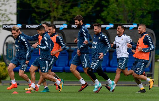 Argentina's footballers train in Ezeiza, Buenos Aires ahead of their crucial 2018 FIFA World Cup Russia South American qualifier football match against Peru. Photo: AFP/Getty Images