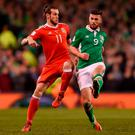 Gareth Bale in action for Wales against Shane Long during the qualifier in Dublin. Photo: Eóin Noonan/Sportsfile