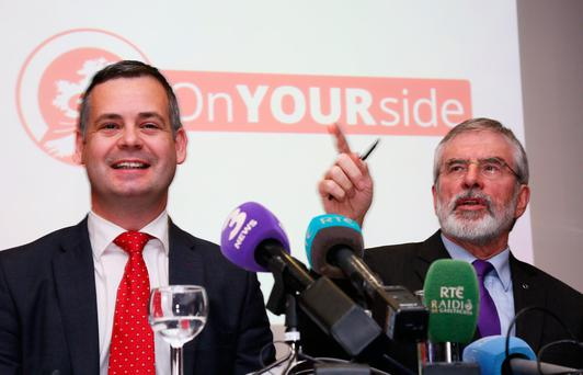 Pearse Doherty and Gerry Adams at The Davenport Hotel for the Sinn Féin alternative budget 2017 launch. Photo: Colin O'Riordan