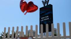 A sign on the Strip says 'Pray for Las Vegas'. Picture: Reuters
