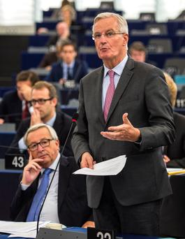 European Chief Negotiator for Brexit Michel Barnier delivers a speech on the progress of the Brexit talks at the European Parliament in Strasbourg