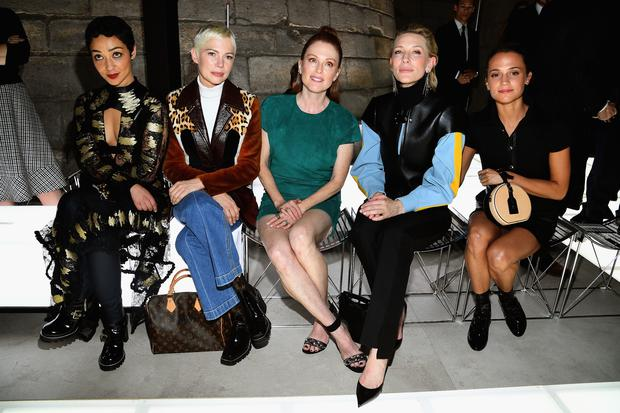 (L-R) Ruth Negga, Michelle Williams, Julianne Moore, Cate Blanchett and Alicia Vikander attend the Louis Vuitton show as part of the Paris Fashion Week Womenswear Spring/Summer 2018 on October 3, 2017 in Paris, France. (Photo by Pascal Le Segretain/Getty Images)