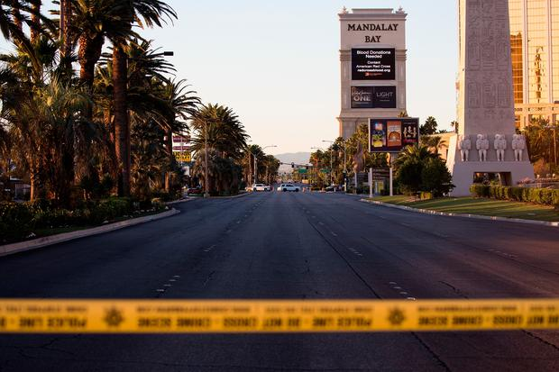 LAS VEGAS, NV - OCTOBER 3: Las Vegas Blvd. remained closed to vehicular traffic near the scene of Sunday night's mass shooting (Photo by Drew Angerer/Getty Images)