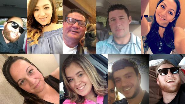 Some of the victims of Sunday's Las Vegas shooting (from top L-R) Christopher Christopher Roybal, Melissa Ramirez, Jack Beaton, Adrian Murfitt, Angie Gomez, (bottom L-R) Jessica Klymchuk, Bailey Schweitzer, Sonny Melton, and Jordan McIldon. Social media/Handout via REUTERS/File Photo