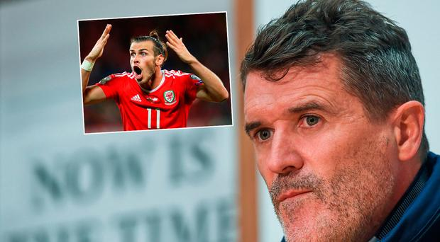 Roy Keane and (inset) Gareth Bale who will miss Monday's clash