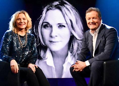 Kim Cattrall filming Life Stories with Piers Morgan