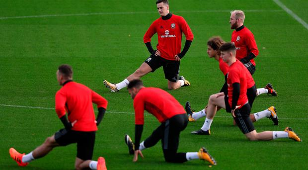 Wales' Tom Lawrence and Jonny Williams during training