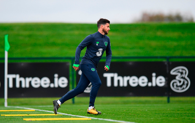 Ireland's Shane Long during squad training today