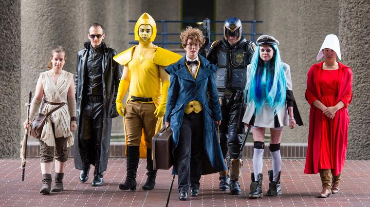 LONDON, ENGLAND - AUGUST 02: (L-R) Science fiction fans, cosplayers and aficionados Eleanor Jane Stringer, Scott Simmons, Alex Chapman, Chloe Stockwell, William Conley, Carrie Baird and Mai Fox celebrate the final month of 'Into The Unknown: A Journey Through Science Fiction' exhibition at Barbican Centre on August 2, 2017 in London, England. (Photo by Jeff Spicer/Getty Images)