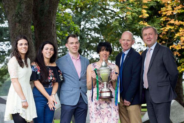 Claire and Helena and Brendan Walsh with their parents Maria and John and the Minister for Agriculture Michael Creed collecting their award. Picture:Clare Keogh