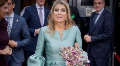 Queen Maxima of The Netherlands attends the King Willem I lecture at Koppert Cress on October 3, 2017 in Westland, Netherlands. Queen Maxima is honorary chairwoman of the King Willem I foundation rewards a prize for entrepreneurship. (Photo by Patrick van Katwijk/Getty Images)