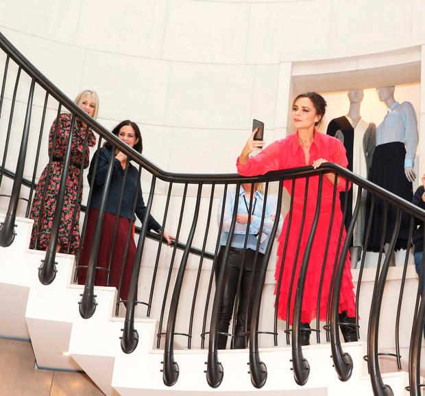 Victoria Beckham today in Brown Thomas, Dublin, as she celebrated her second collection with Estée Lauder. Picture: Leon Farrell / Photocall Ireland