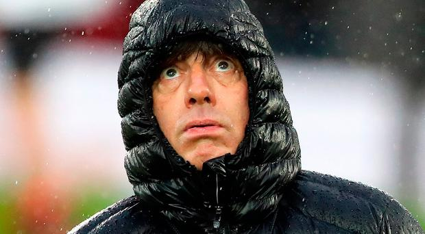 Germany manager Joachim Low looks to the heavens at Windsor Park. Photo: PA