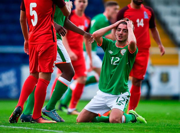 Ireland's Daniel McKenna shows his frustration as Ireland failed to break the deadlock in their U19s clash against Azerbaijan in Waterford. Photo: Sportsfile