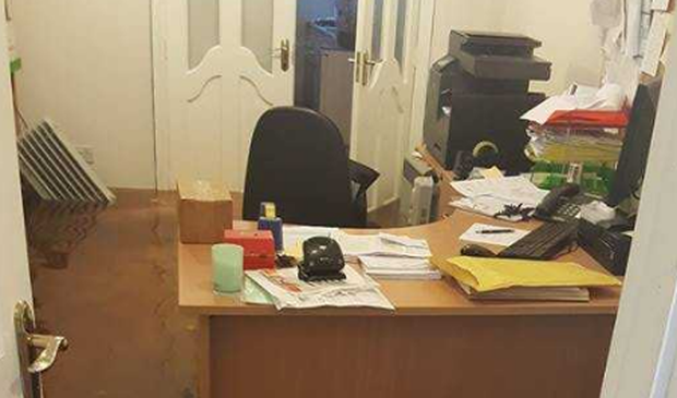 The flooded office of Independent TD, Thomas Pringle